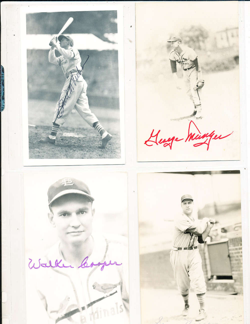 Red Munger St. Louis Cardinals Signed Team issue B&W Post Card