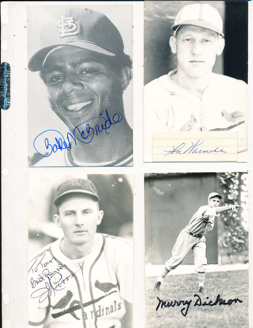 Bake McBride St. Louis Cardinals Signed Team issue B&W Post Card