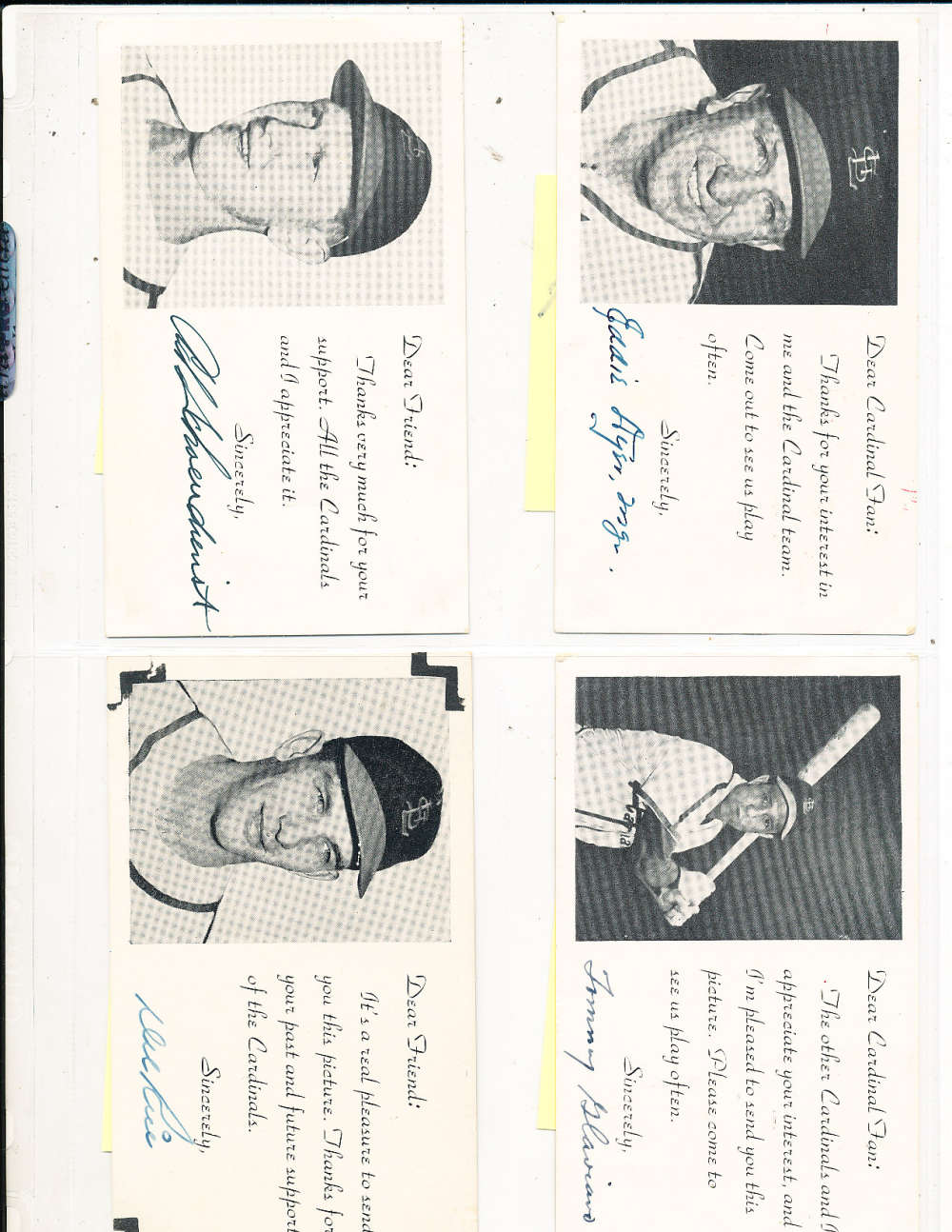 Red Schoendienst St. Louis Cardinals Signed 1950 Team issue Post Card