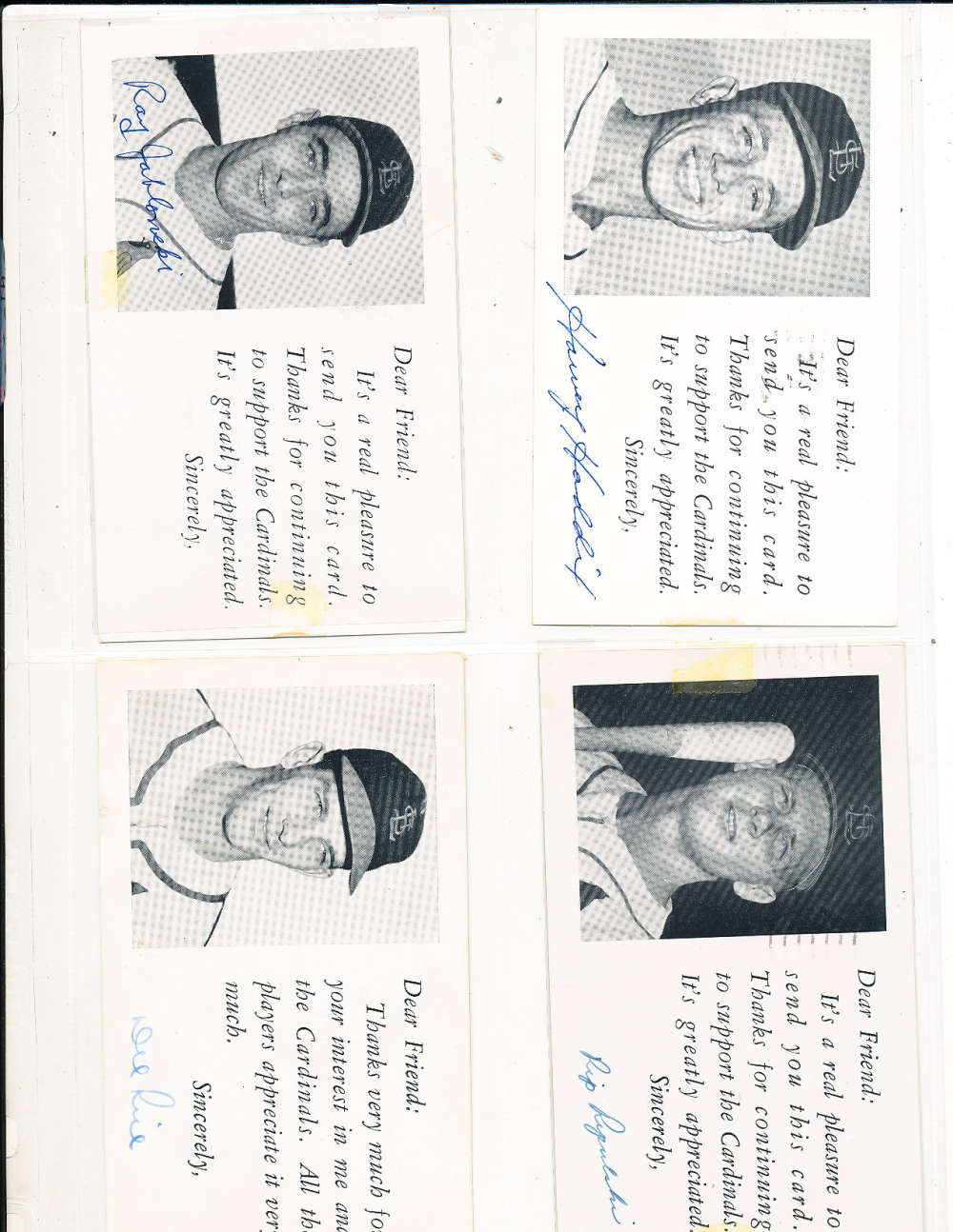 Harvey Haddix St. Louis Cardinals Signed 1954 Team issue Post Card