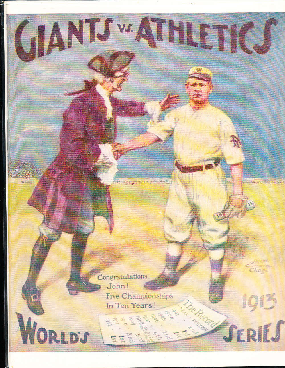1913 Giants vs Athletics World Series Program NM Opie Reprint