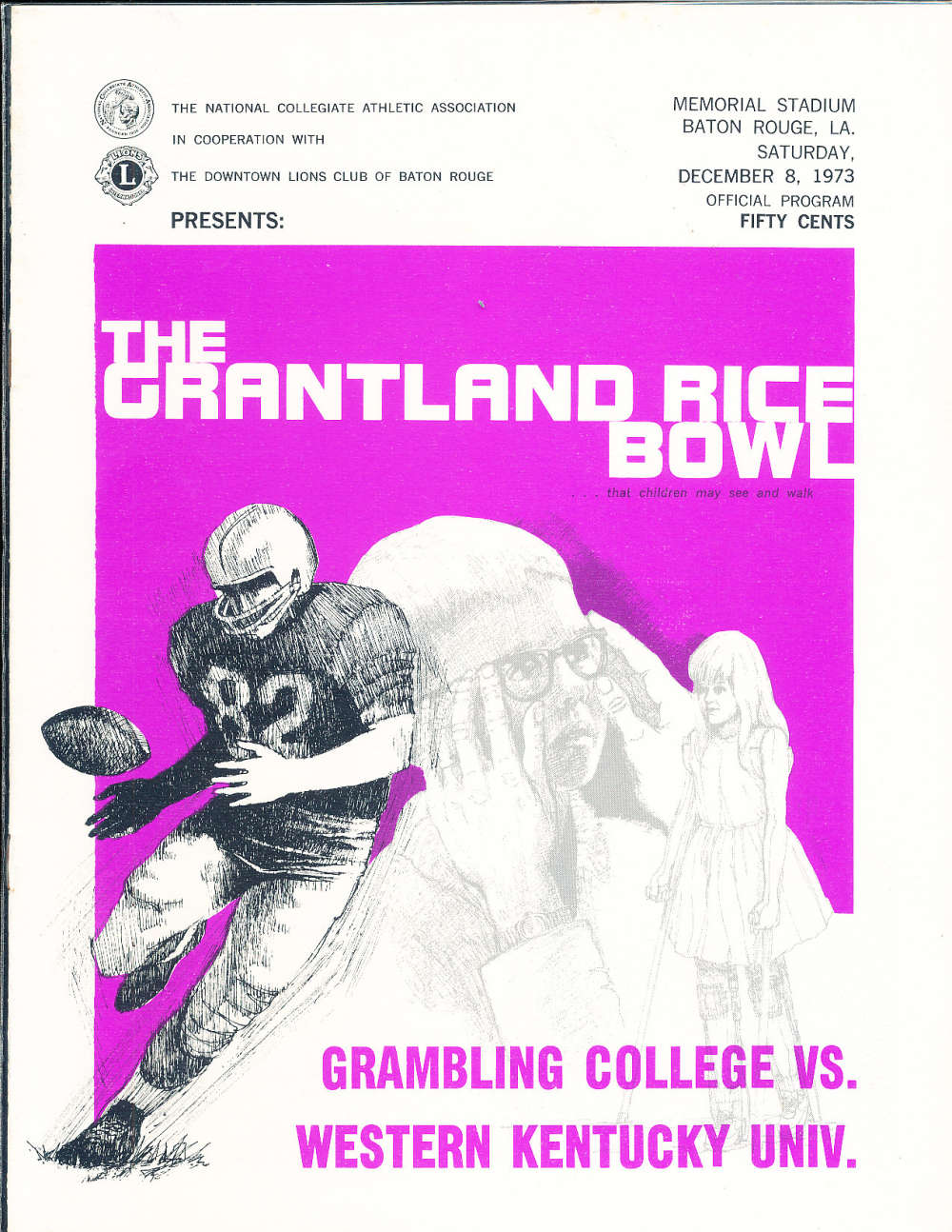 12/8 1973 Grantland Rice bowl football program Grambling vs Western Kentucky