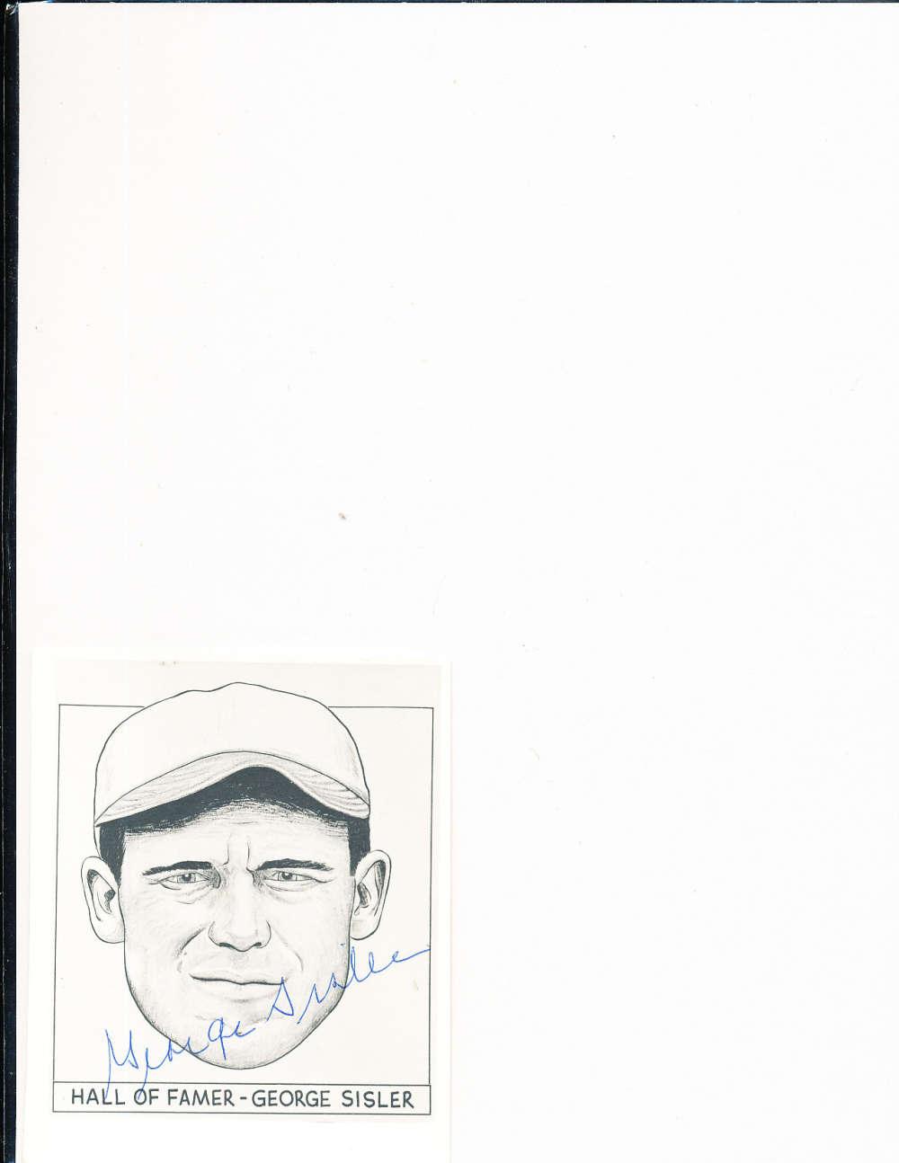 George Sisler Browns HOF 4x5 Signed Picture