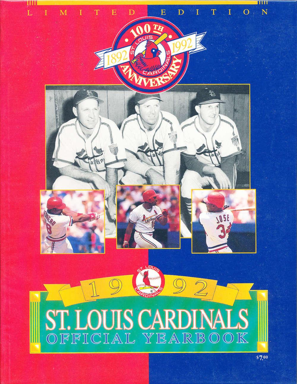 1992 St Louis Cardinals Baseball Yearbook