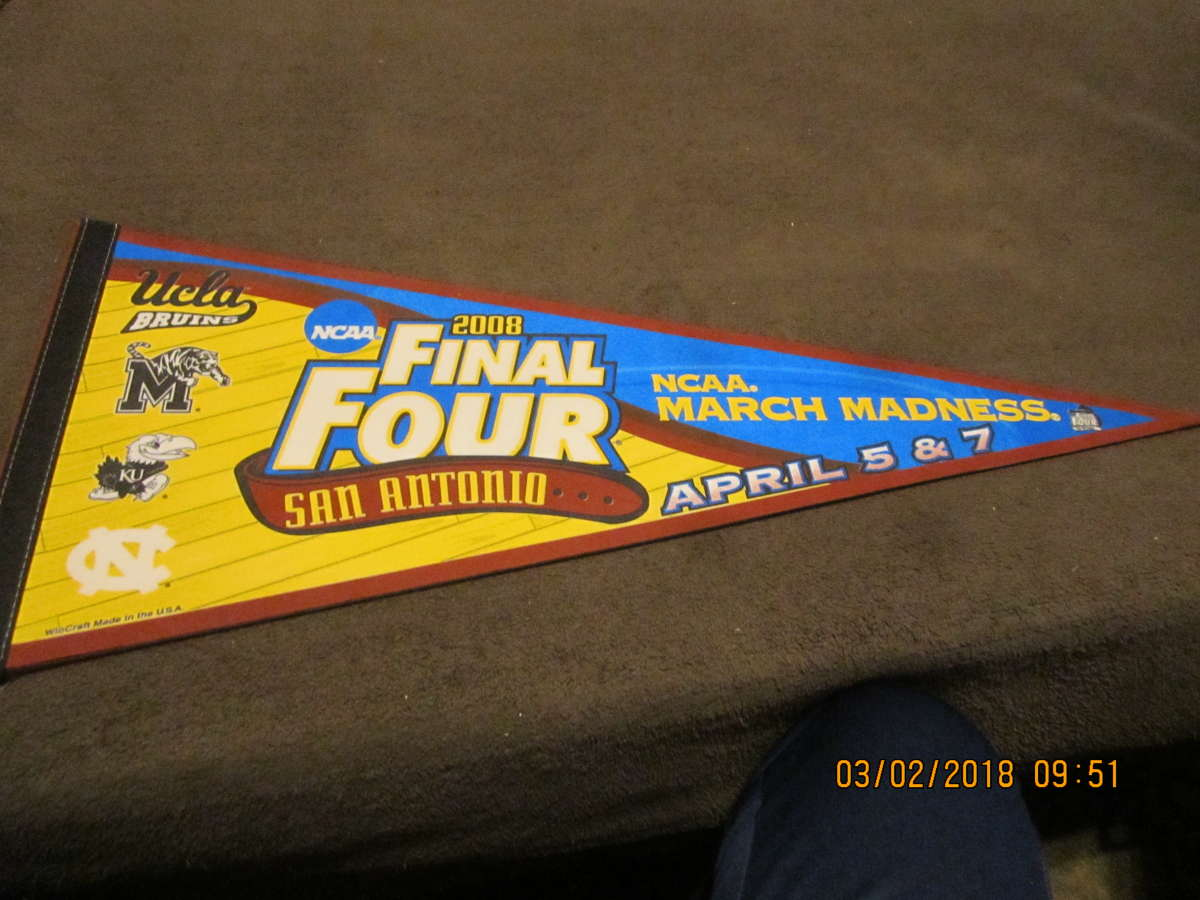 2008 UCLA Kansas Missouri North Carolina Final Four Basketball Pennant championship