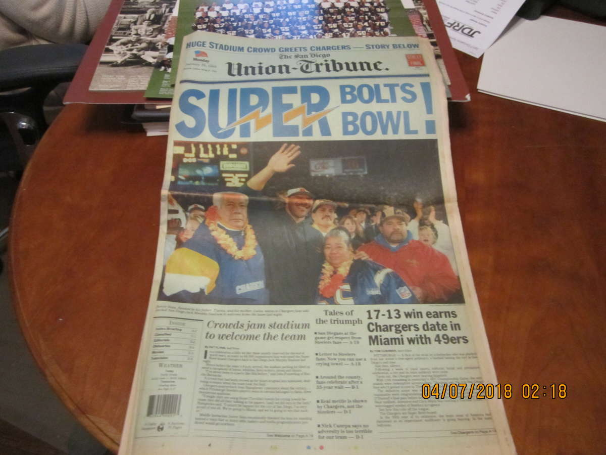 1/16 1995 San Diego Chargers Junior Seau Superbowl Paper bx1