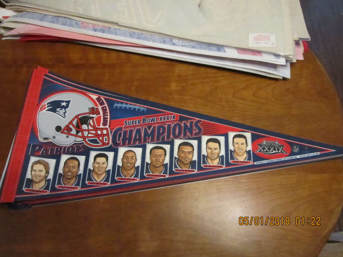 New England Patriots SB XXXIX picture Champions pennant bx2