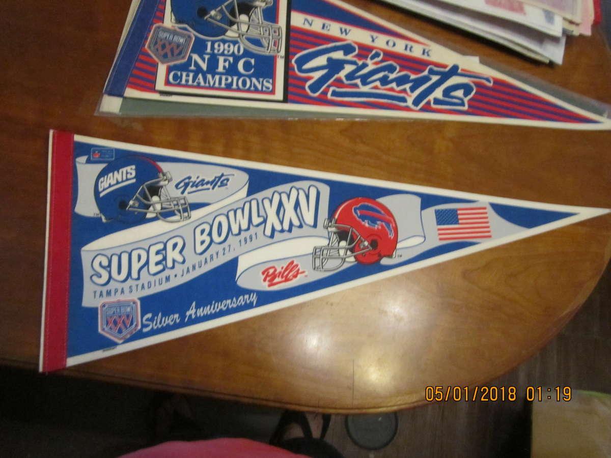 1991 New York Giants vs Buffalo Bills SB XXV pennant bx2