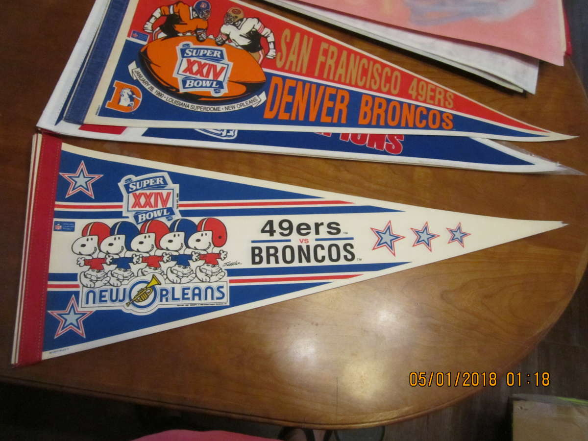 SB XXIV San Francisco 49ers vs Broncos Snoopy pennant bx2