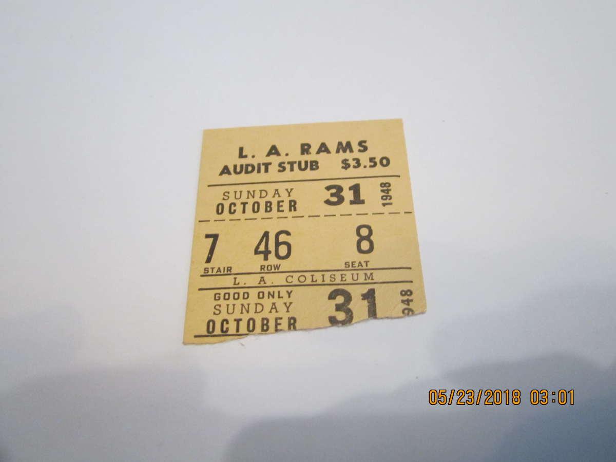 10/31 1948 Los Angeles Rams vs  Chicago Cardinals ticket stub