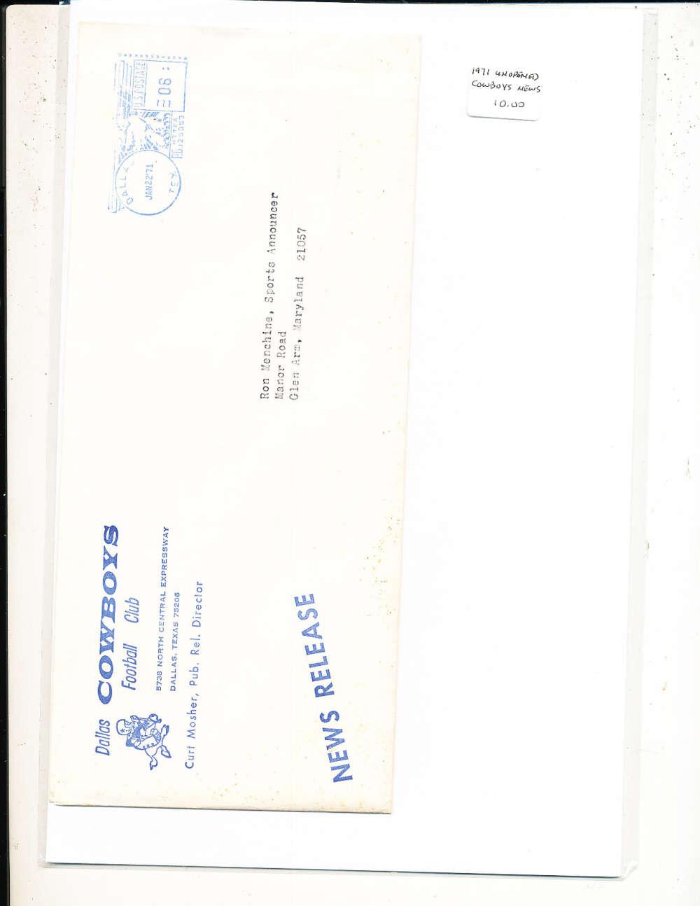 1/22 1971 Dallas Cowboys unopen new release letter bxftpo