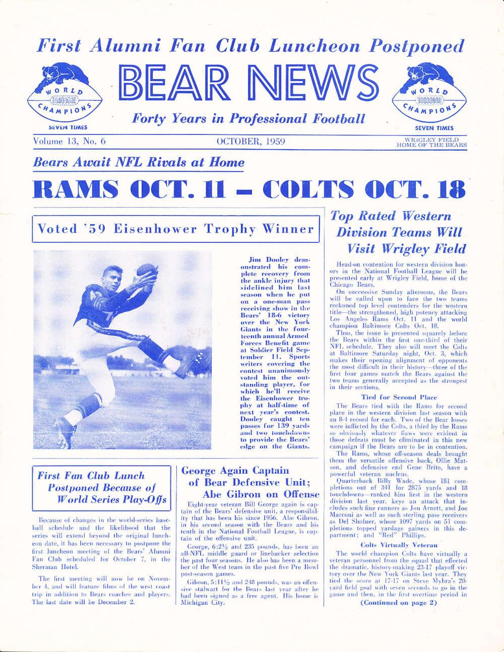 10/ 1959 Chicago Bears Bear News Newsletter em  bxnfl10