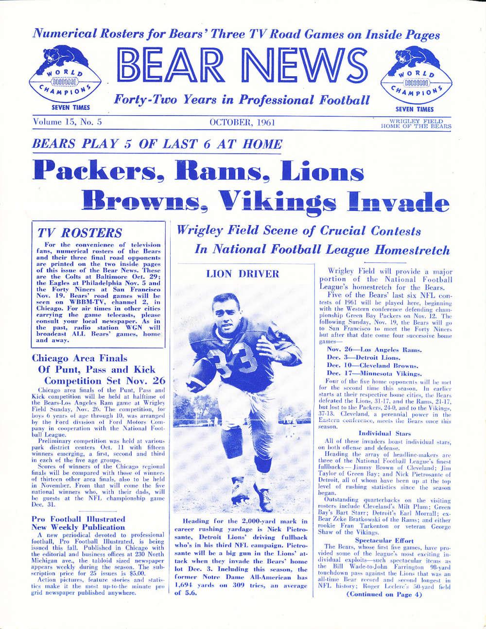 10/ 1961 Chicago Bears Bear News Newsletter em  bxnfl10