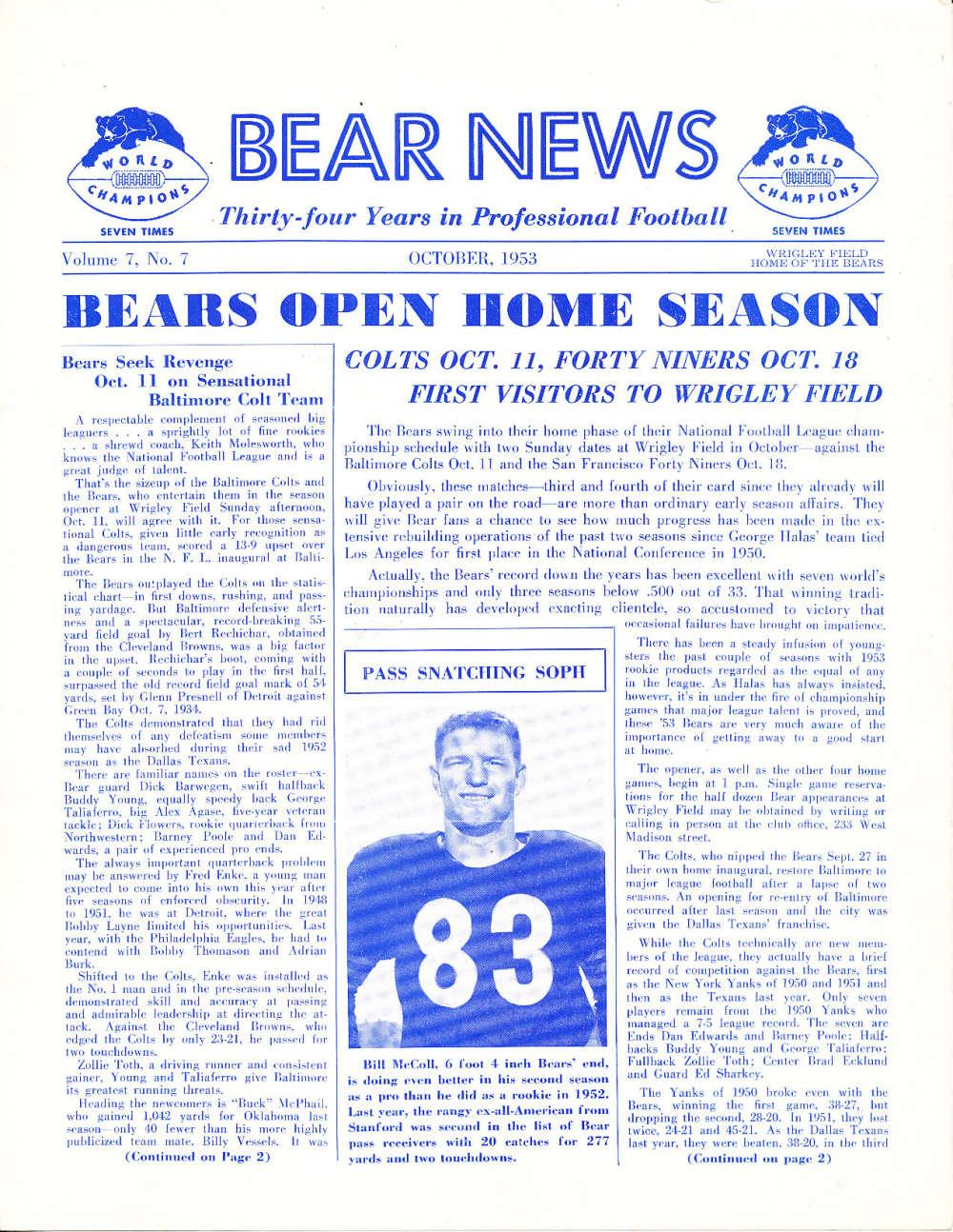10/ 1953 Chicago Bears Bear News Newsletter em  bxnfl10
