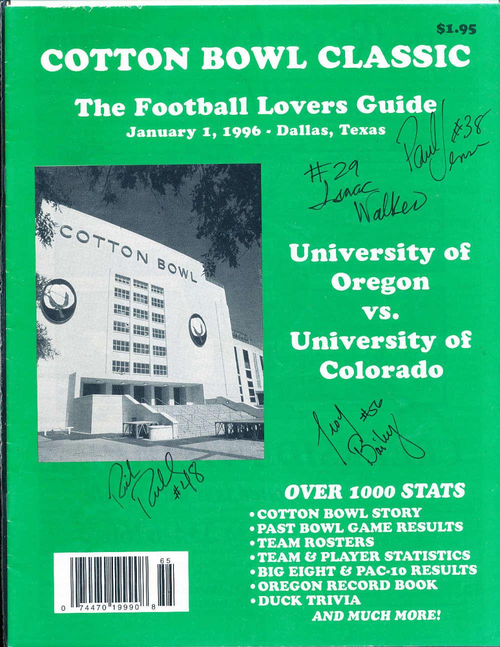 1/1 1996 Cotton Bowl Classic Oregon vs Colorado guide signed 4 players