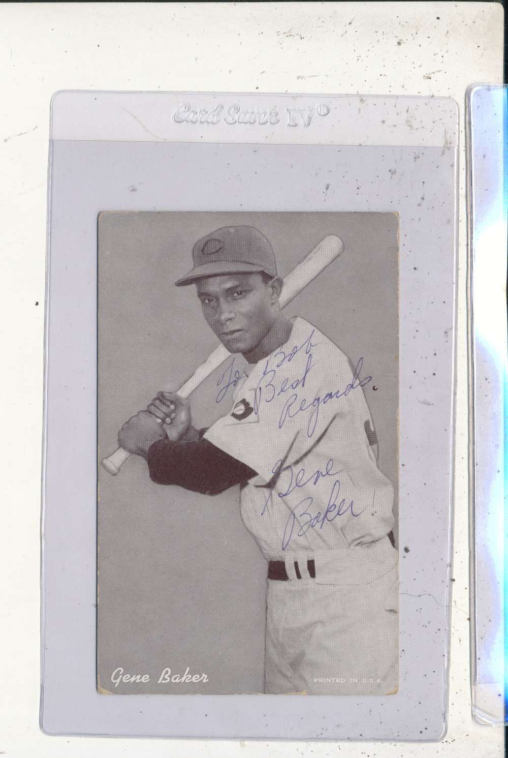 Gene Baker Reds Signed 1946-1966 exhibit card personalized