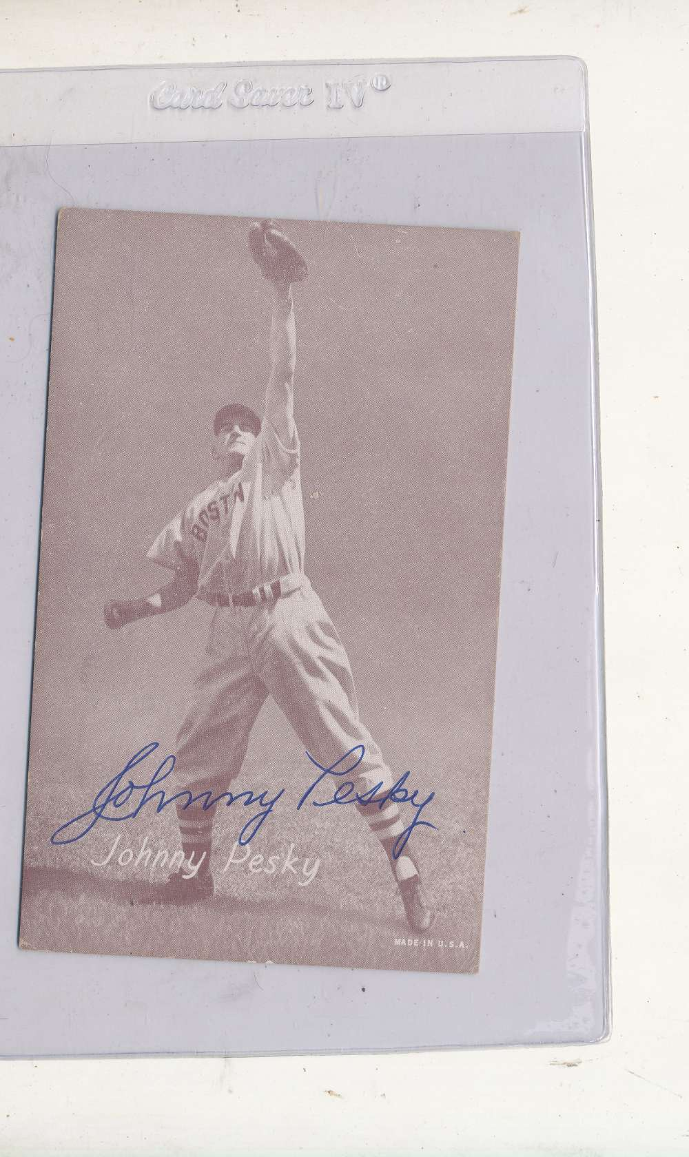 Johnny Pesky Boston red sox Signed 1946-1966 exhibit card
