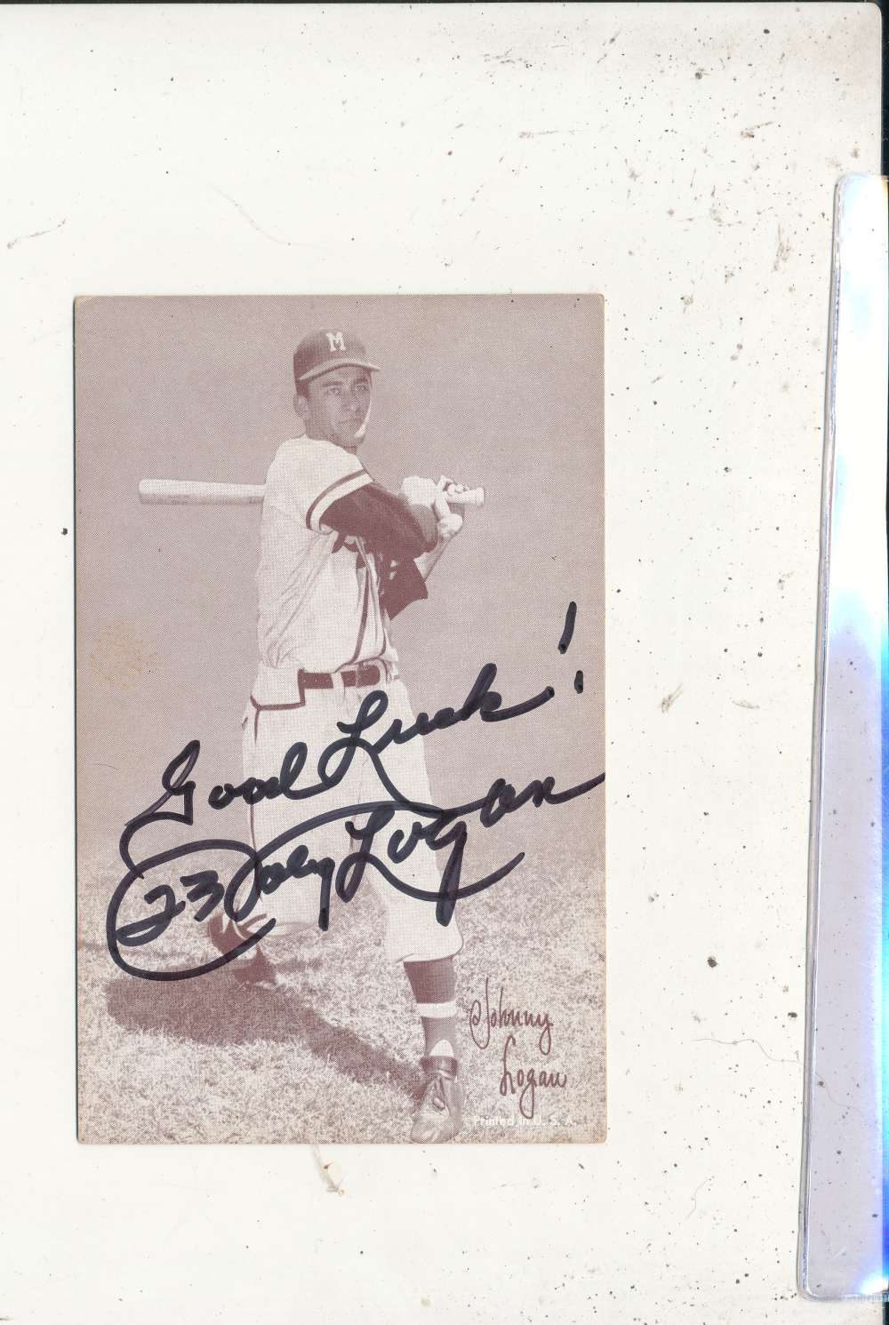 Johnny Logan braves Signed 1946-1966 exhibit card