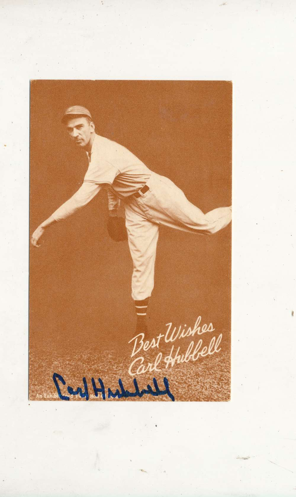 Carl Hubbell Giants Signed exhibit reprint card