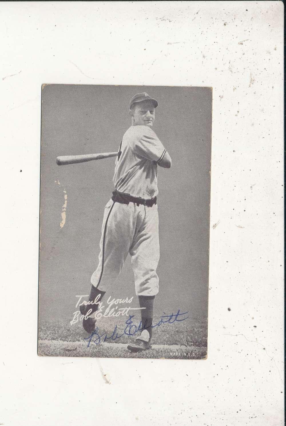 Bob Elliott   Signed 1946-1966 exhibit card (d66) rare