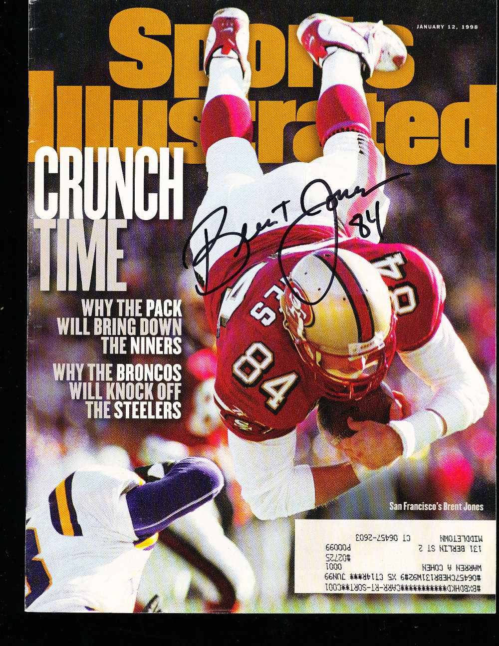 1/12 1998 Bert Jones San francisco 49ers Signed Sports Illustrated