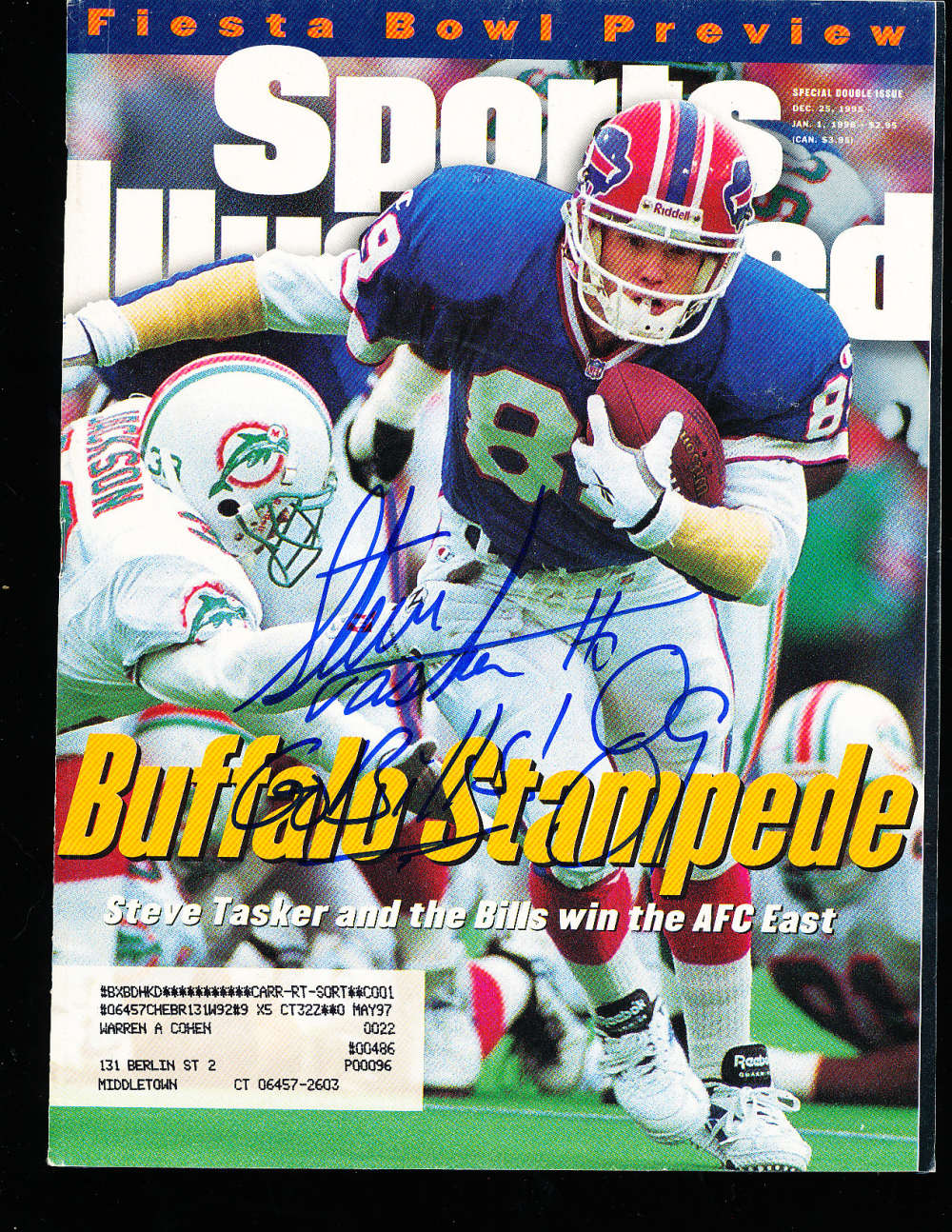1/1/ 1996 Steve Taster Bills Regional Signed Sports Illustrated