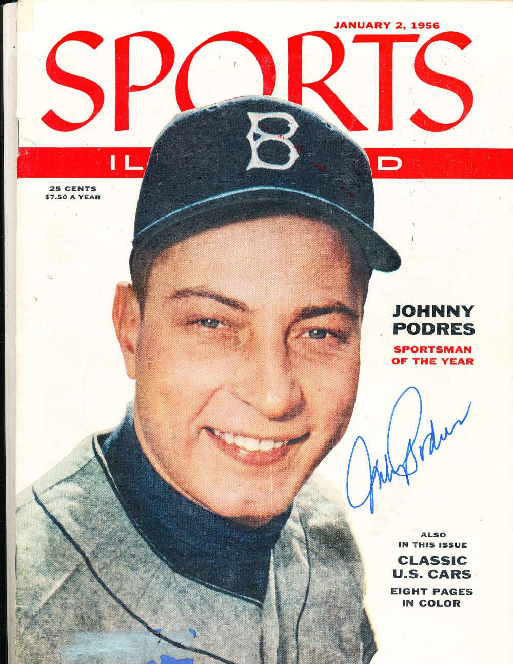 1/4 1956 Johnny Podres Sports Illustrated SIGNED Sportsman a29