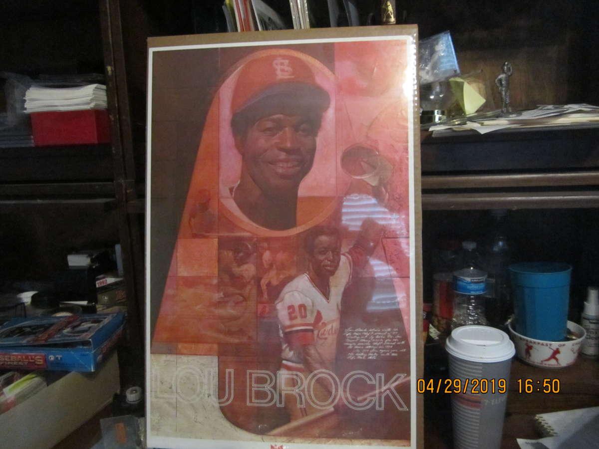 16x24 Lou Brock Cardinals poster Budweiser 1970's 16x24