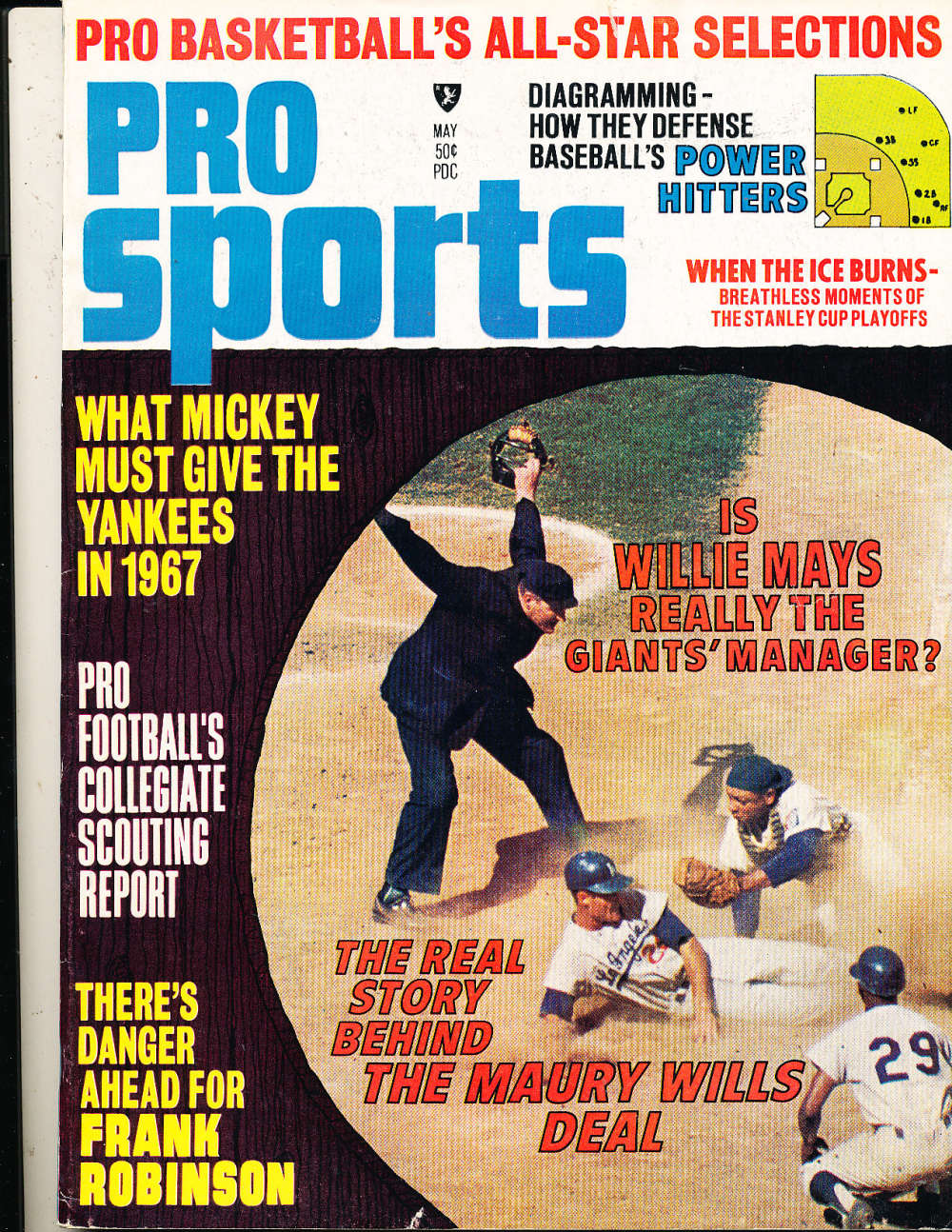 5/ 1967 Pro Sports Maury Wills magazine em bx1