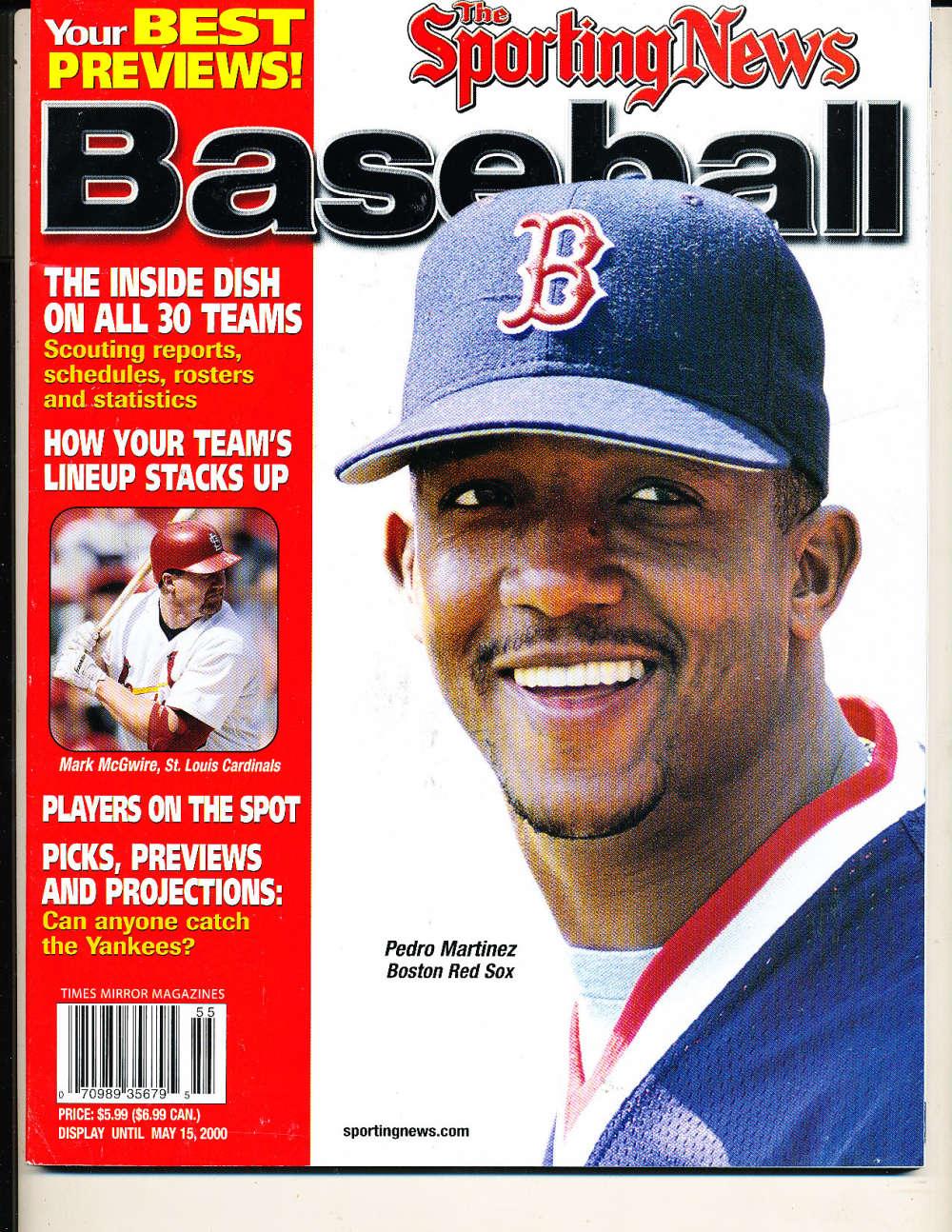 2000 The sporting News Baseball Pedro Martinez Red Sox nm bx1