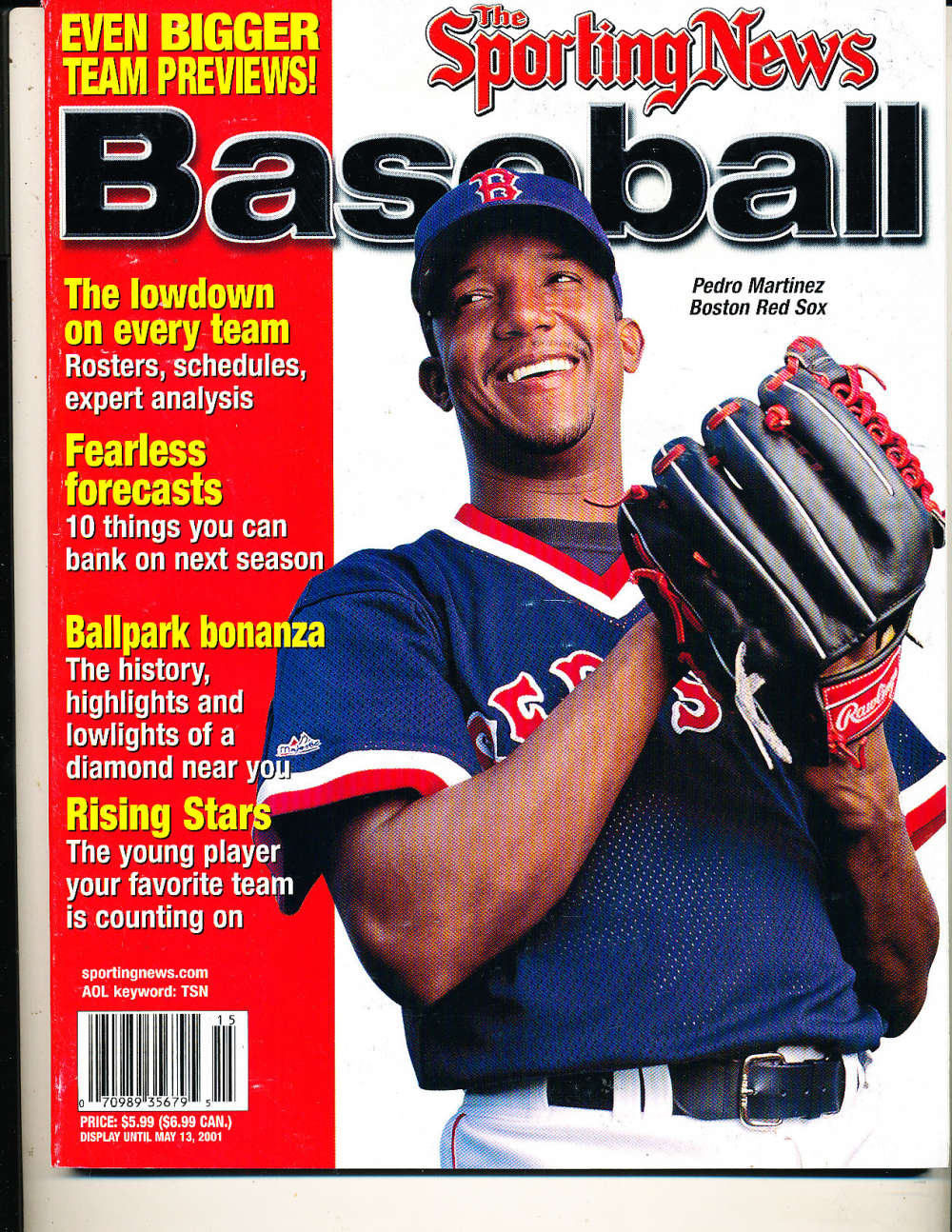 2001 The sporting News Baseball Pedro Martinez Red Sox nm bx1