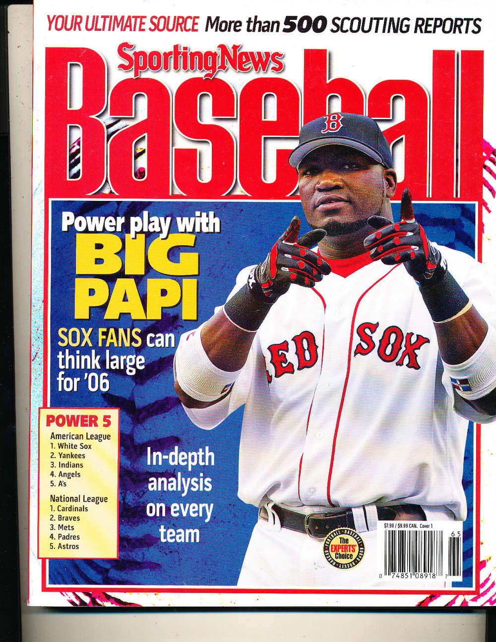 2006 The Sporting News Baseball David Ortiz Red Sox nm bx1