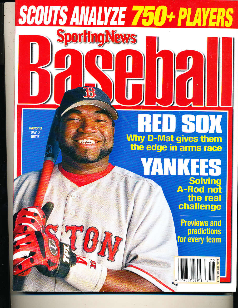 2007 The Sporting News Baseball David Ortiz Red Sox nm bx1