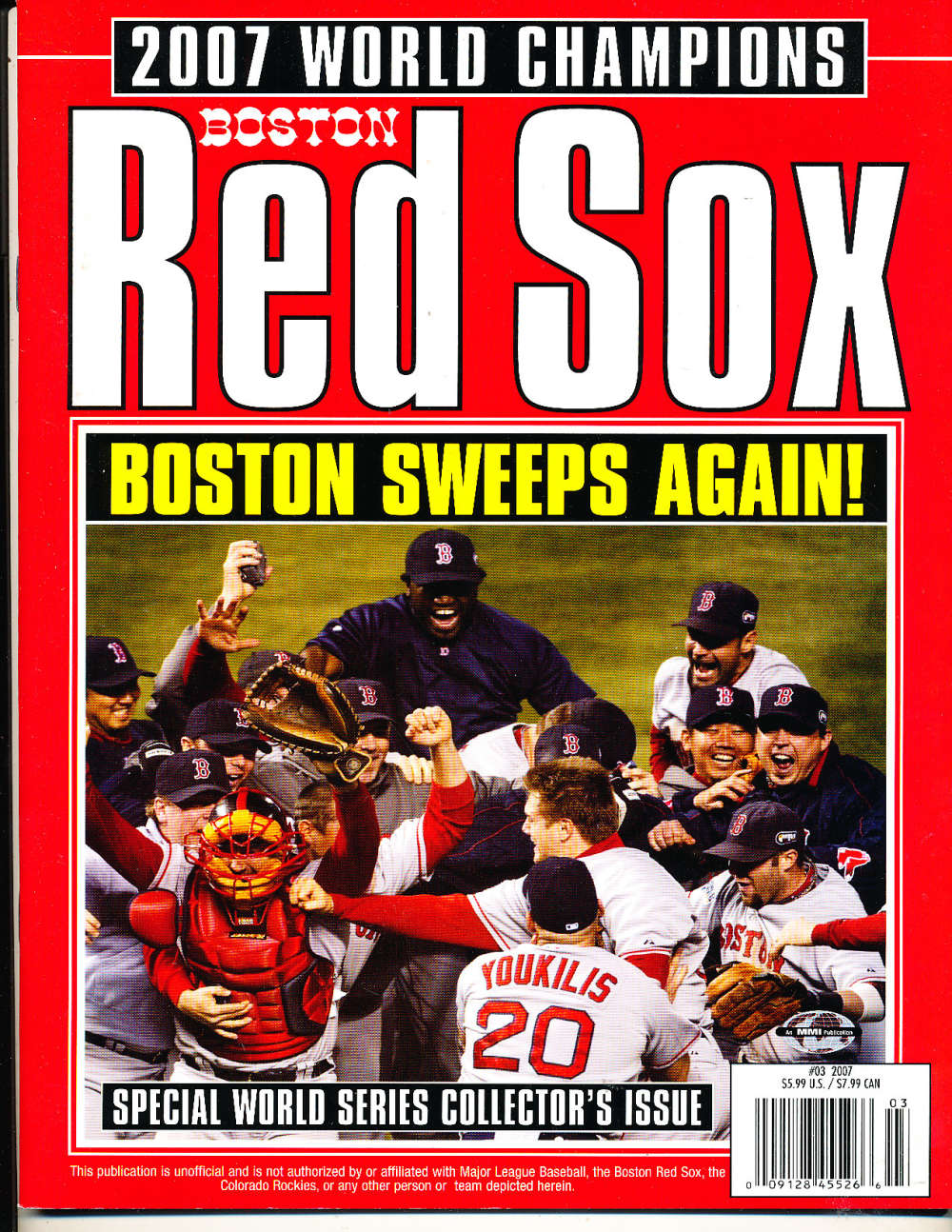 2007 World Champions Boston Red sox Yearbook Annual nm bx1