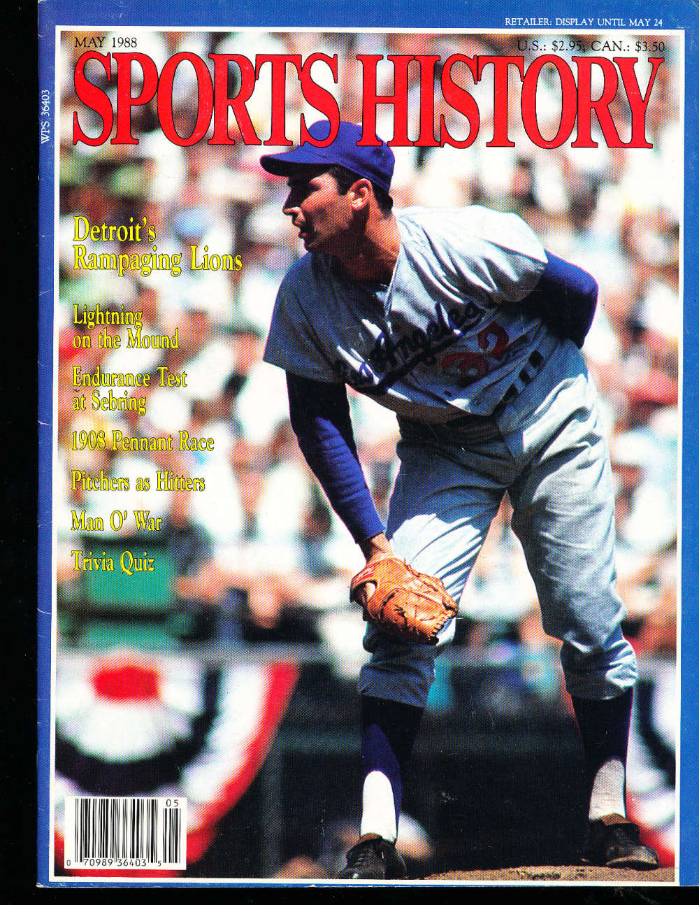 May 1988 Sports History Sandy Koufax Dodgers nm bx1