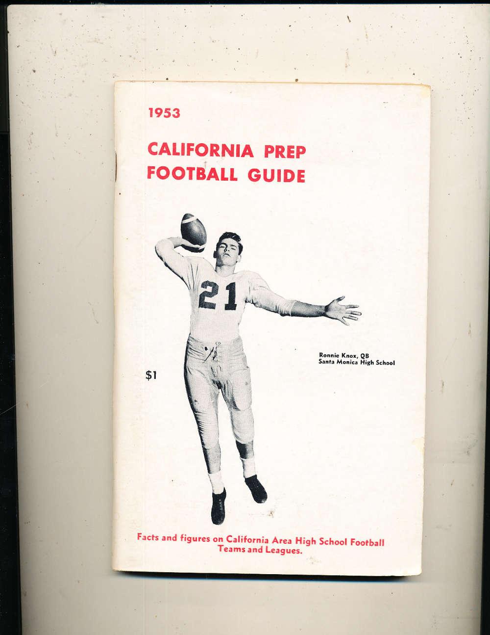 1953 California Prep Football Guide Ronnie Knox QB Santa Monica