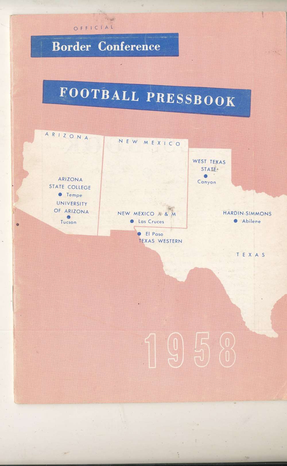 1958 Border Conference Football Pressbook Arizona Football Media Press Guide