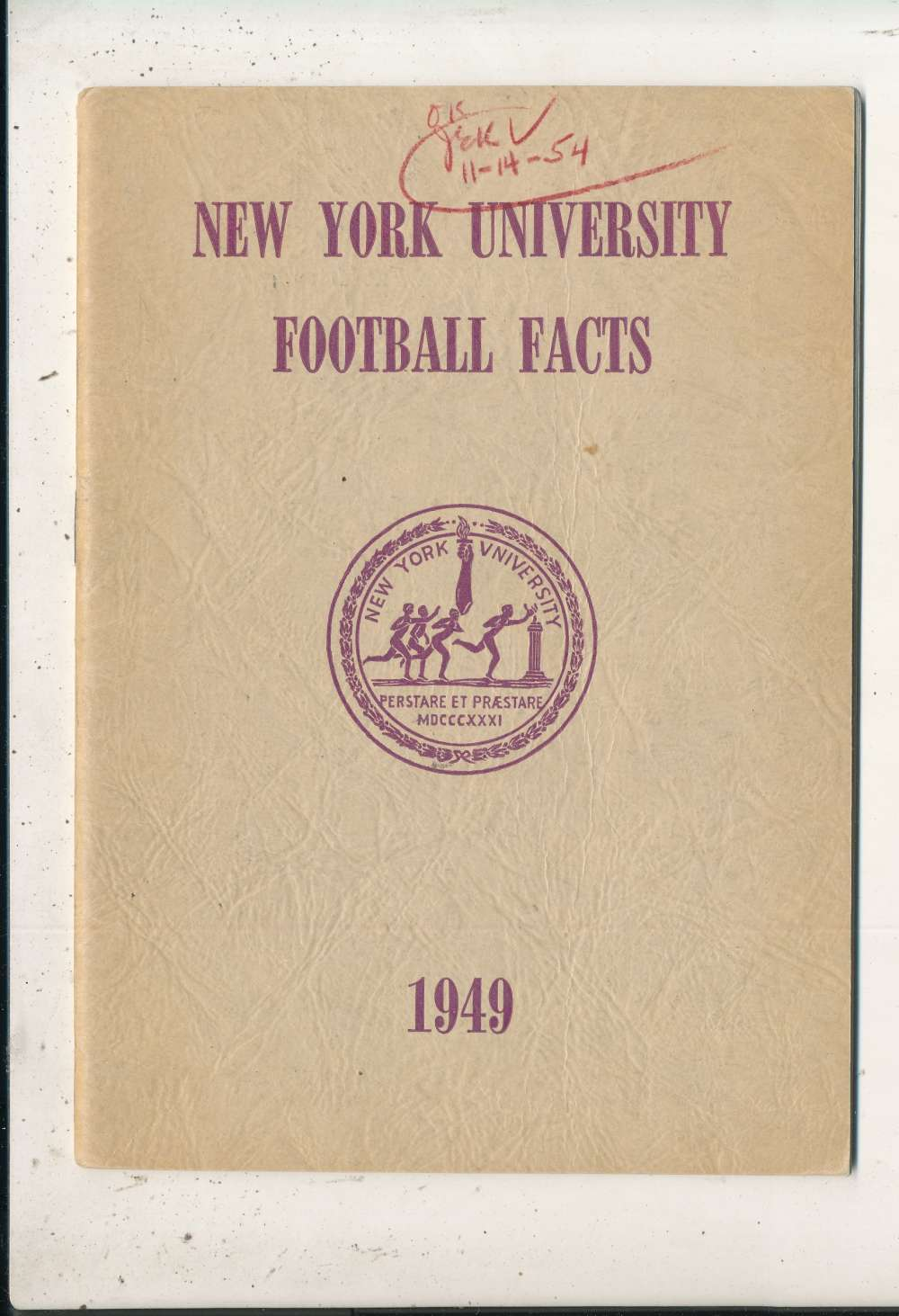 1949 New York University Football Media Press Guide