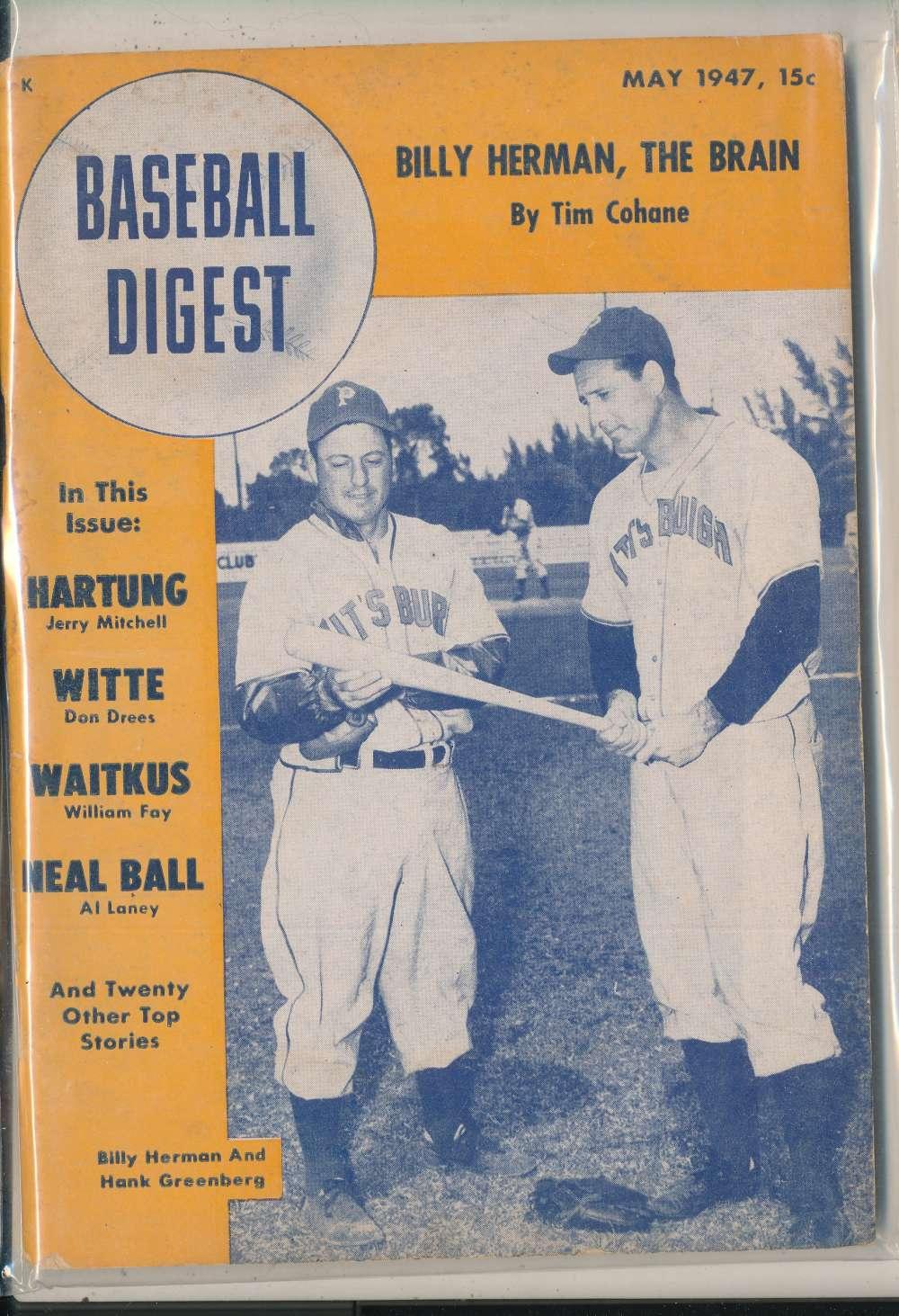 1947 May Baseball Digest hank Greenberg pittsburgh