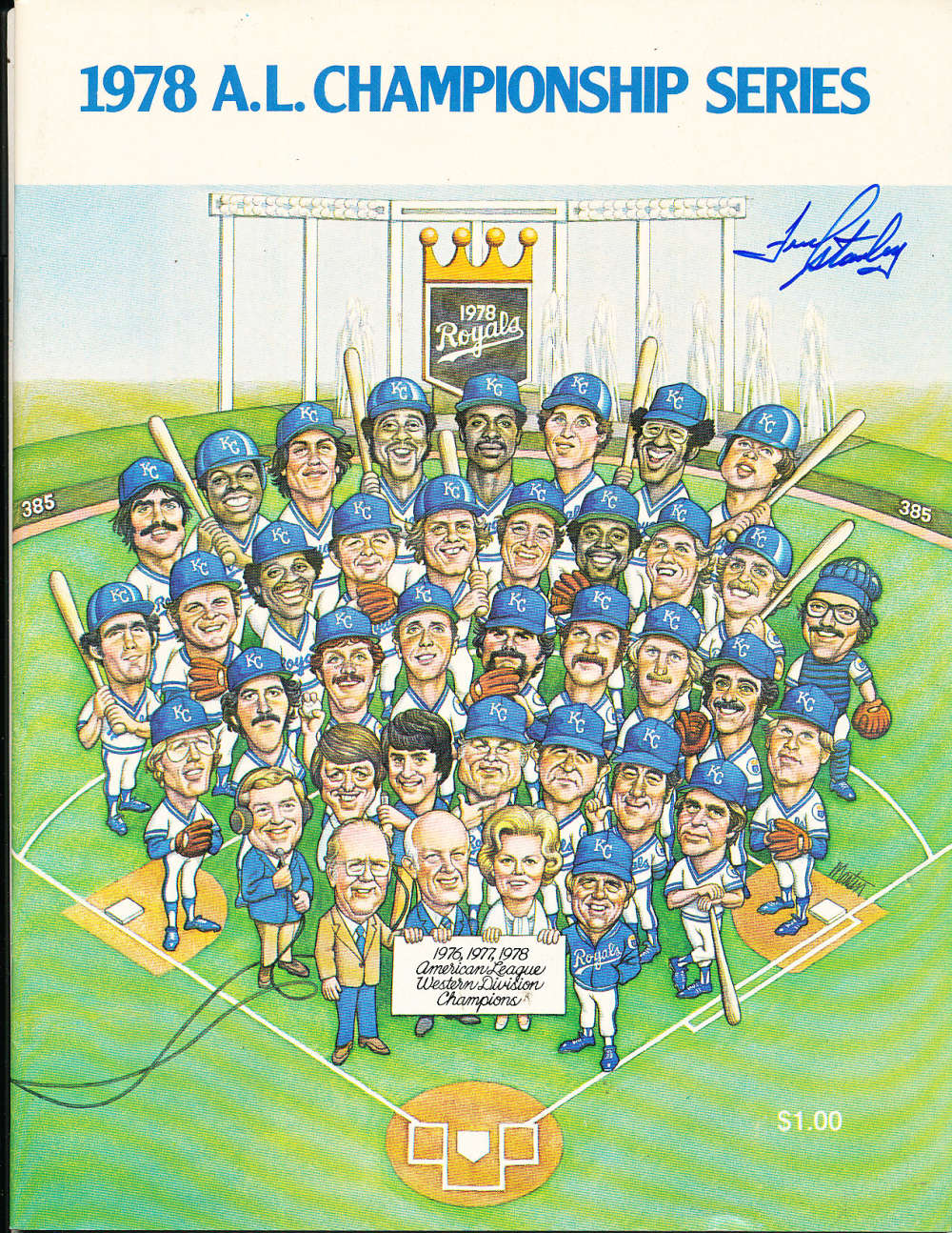 1978 Kansas City Royals A.L. Championship Series signed program em