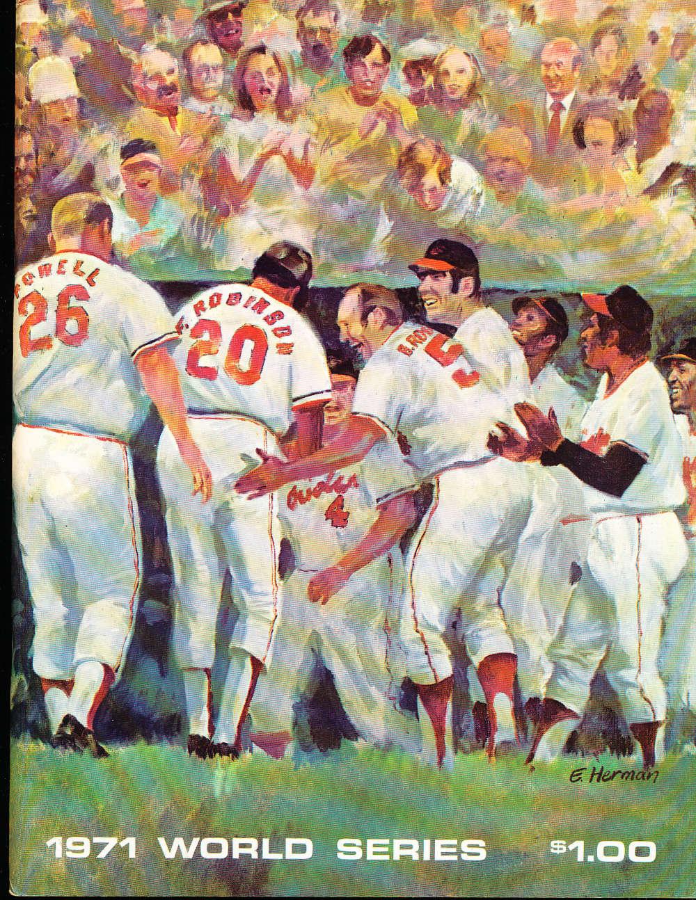 1971 World Series Program Baltimore Orioles vs pittsburgh pirates nm bx3