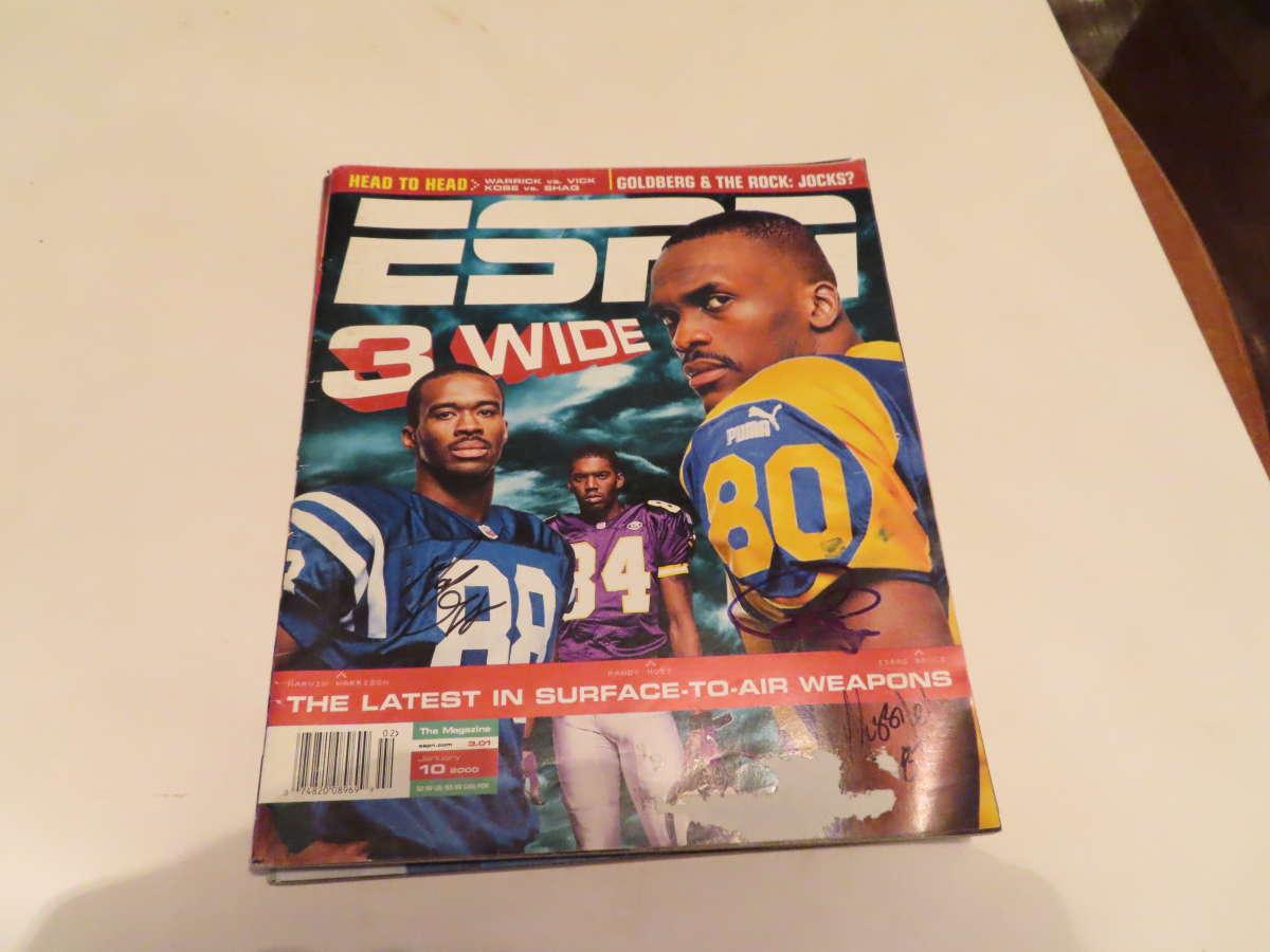 1/10 2000 Isaac Bruce Rams  Signed ESPN MAGAZINE bxlgs
