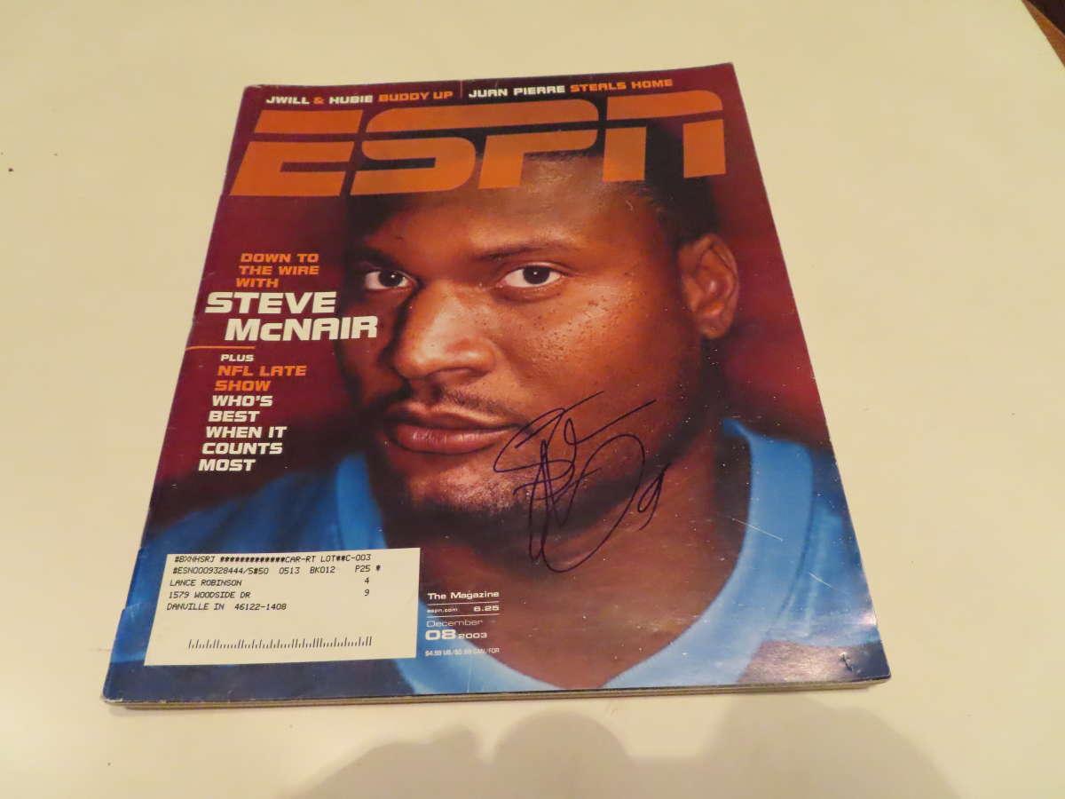 12/8 2003 Steve McNair  Titans Signed ESPN MAGAZINE bxlgs