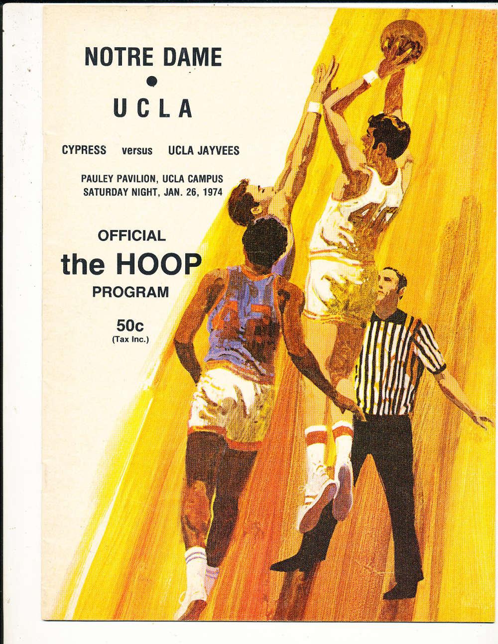 1/26 1974 UCLA vs Notre Dame Basketball Program bk1