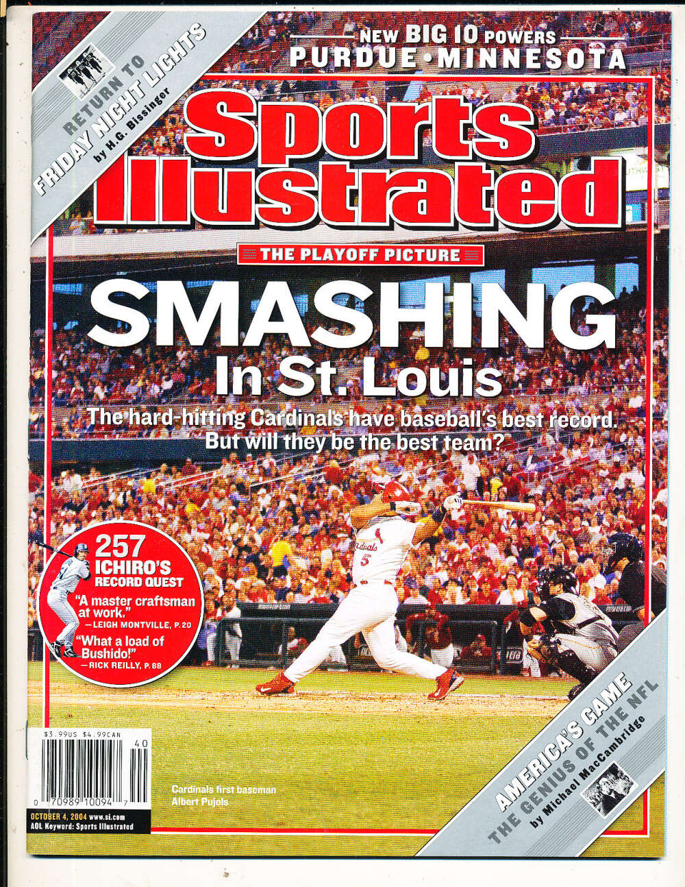 10/4 2004 Albert Pujols Cardinals Sports Illustrated mint no label