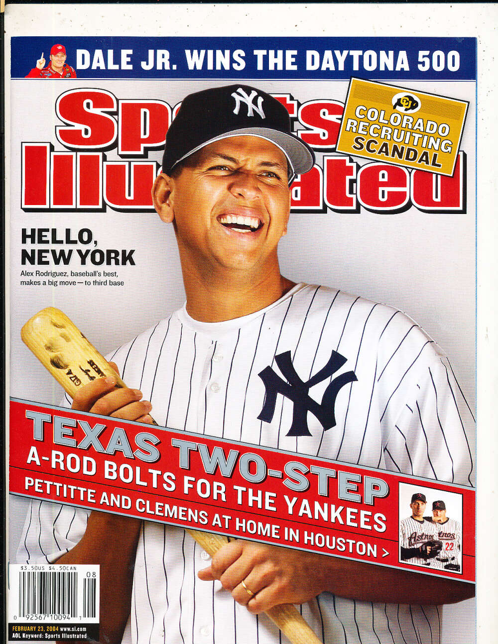2/23 2004 Alex Rodriquez Yankees Sports Illustrated mint no label