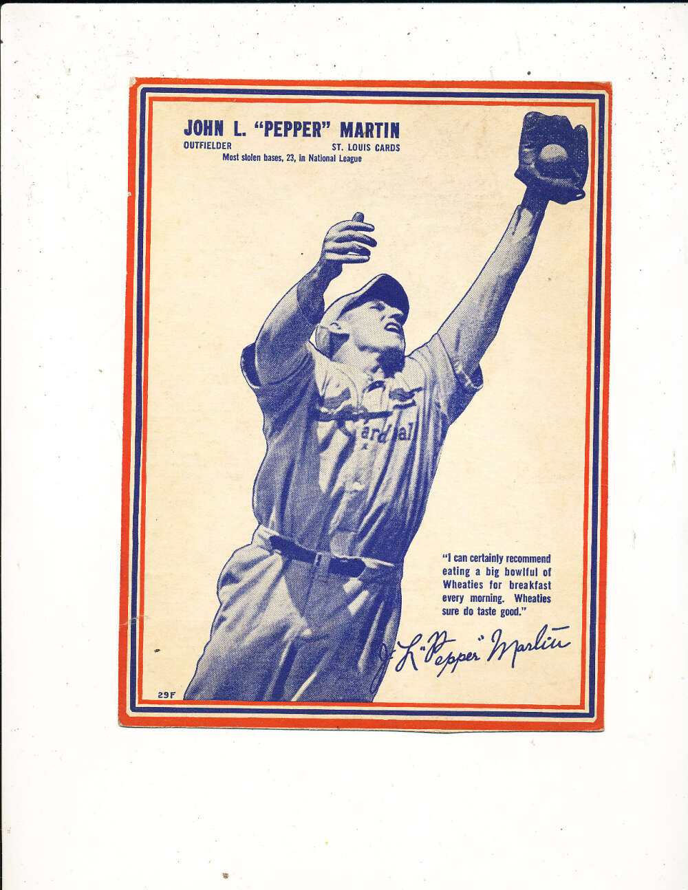 1937 Wheaties card John Pepper Martin Cardinals