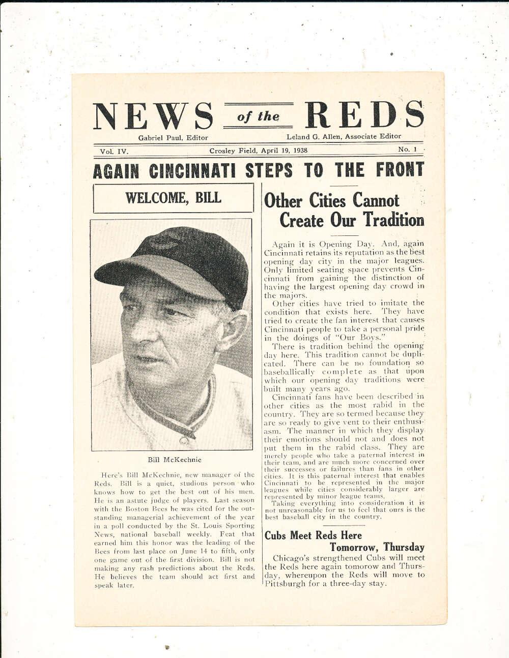 4/19 1938 News of the Reds Newsletter vol IV #1 Bill McKechnie