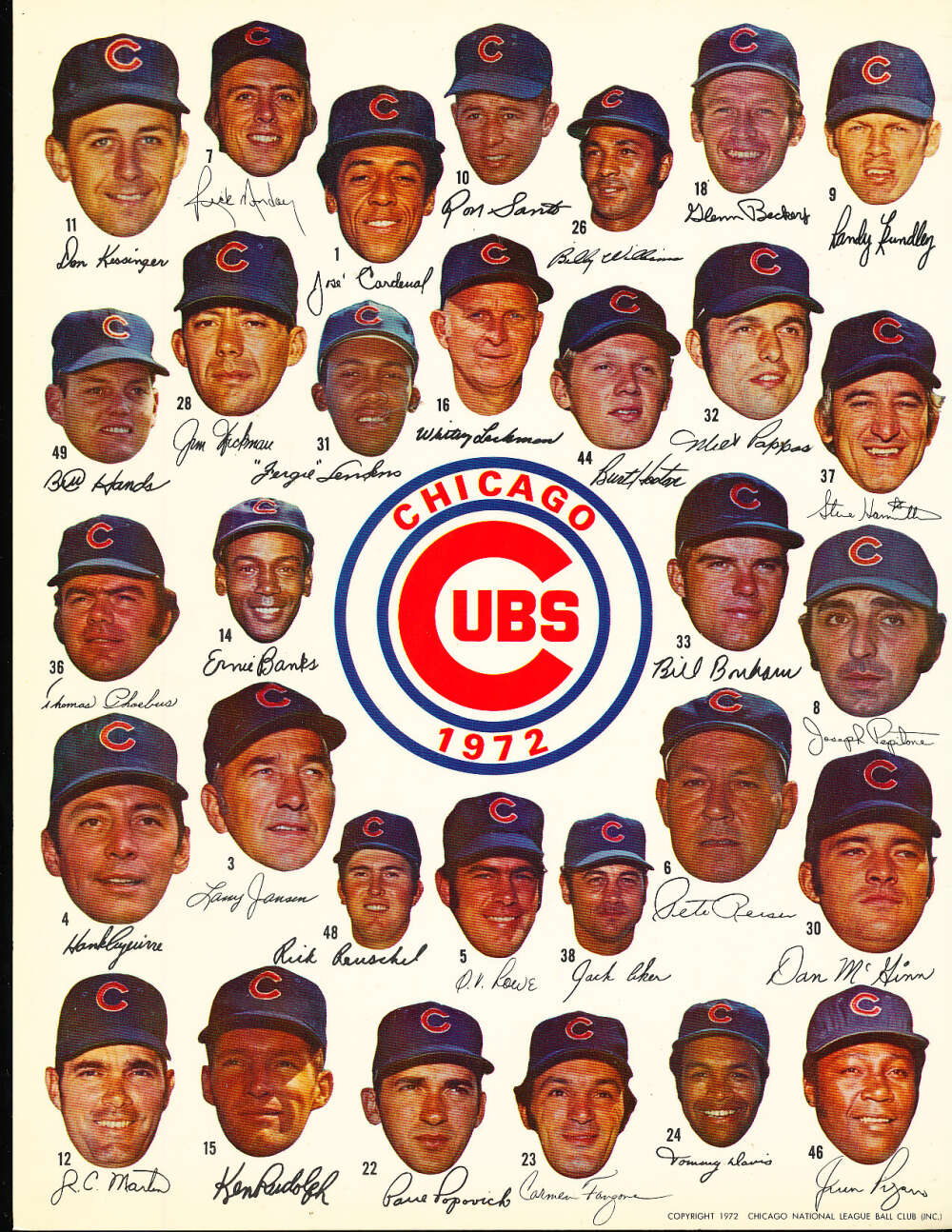 1972 Chicago cubs Team Picture 8.5 x 11
