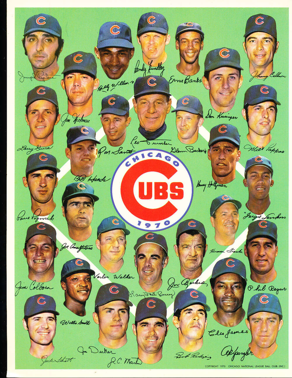 1970 Chicago cubs Team Picture 8.5 x 11